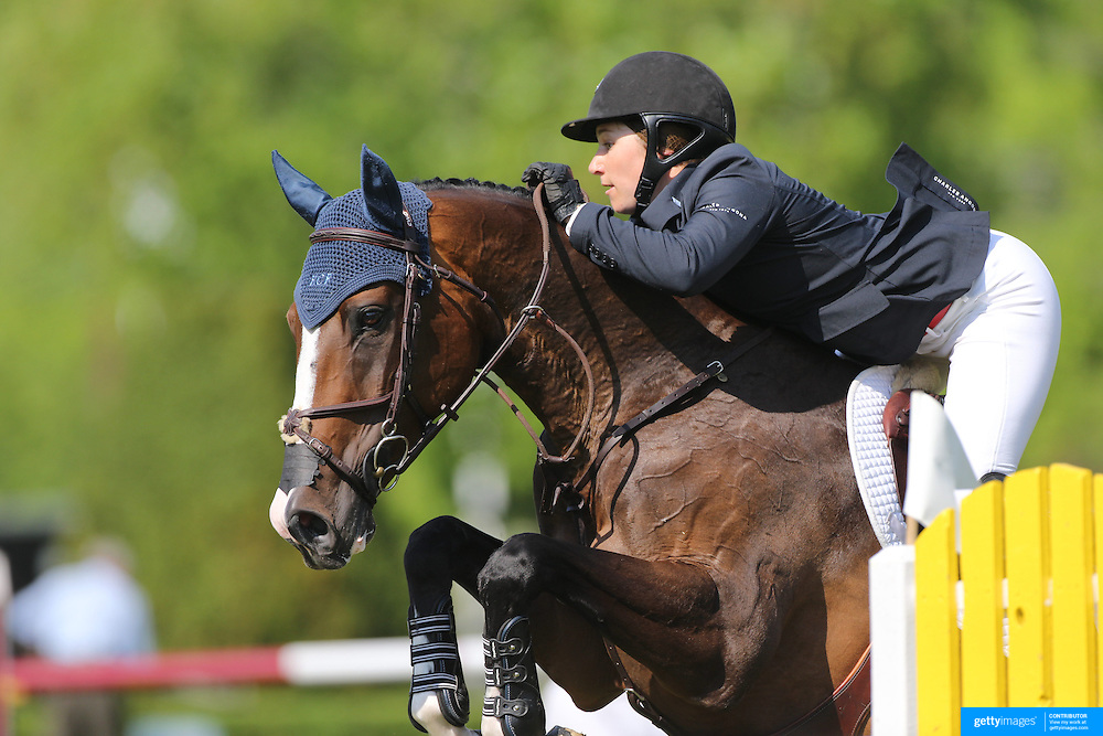 Sydney Shulman riding Venice in action during the $100,000 Empire State Grand Prix presented by the Kincade Group during the Old Salem Farm Spring Horse Show, North Salem, New York,  USA. 17th May 2015. Photo Tim Clayton