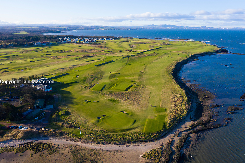 Aerial view of Kilspindie Golf course in Aberlady, East Lothian, Scotland, UK