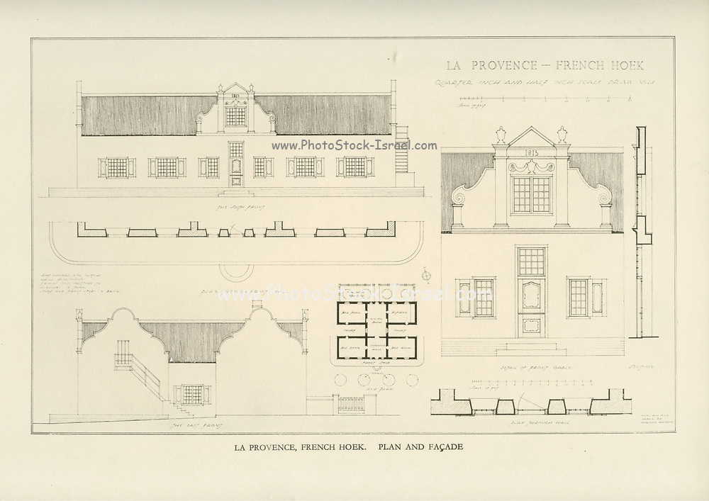 La Provence, French Hoek. plan and facade From the book ' Eighteenth century architecture in South Africa ' by Geoffrey Eastcott Pearse. Published by A.A. Balkema, Cape Town in 1933 G. E. Pearse was among the first to bring Cape architecture to a wide audience in a scholarly way. Eighteenth Century Architecture in South Africa was the result of many years research on the topic and remains an important reference work for the subject.