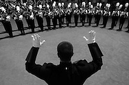 """Drum major Ricky Colombo, 17, leads the Valencia High School marching band moments before their program """"Catch me... If you can"""" during the 29th Annual Savanna Field Tournament """"Battle of the Bands"""" at Glover Stadium in Anaheim Saturday, November 19, 2005."""