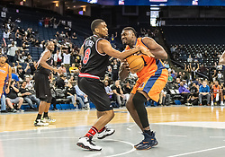 July 6, 2018 - Oakland, CA, U.S. - OAKLAND, CA - JULY 06:James White (8) of Trilogy reaches in for the ball from Jason Maxiell (54) of 3's Company during game 1 in week three of the BIG3 3-on-3 basketball league on Friday, July 6, 2018 at the Oracle Arena in Oakland, CA  (Photo by Douglas Stringer/Icon Sportswire) (Credit Image: © Douglas Stringer/Icon SMI via ZUMA Press)