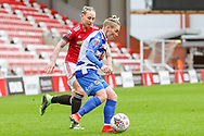 Reading midfielder Jess Fishlock (8) looks for a pass during the FA Women's Super League match between Manchester United Women and Reading LFC at Leigh Sports Village, Leigh, United Kingdom on 7 February 2021.