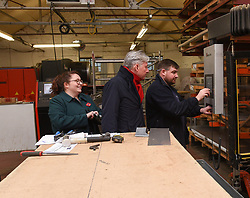 Pictured: Richard Leonard and Danielle Rowley are shown how to bend pipework by workshop manager Robert Dodds.<br /> <br /> Scottish Labour leader Richard Leonard visited an air conditioning company in Midlothian with Labour's candidate in the Midlothian seat, Danielle Rowley.<br /> <br /> © Dave Johnston / EEm