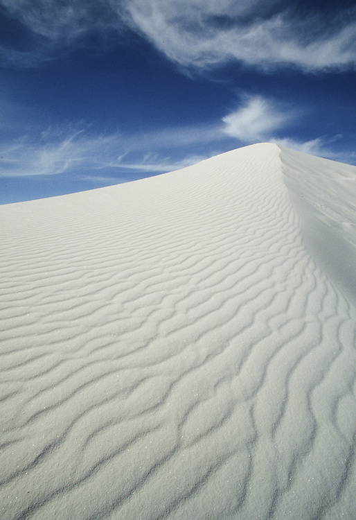 United States, New Mexico, White Sands National Monument, ripples in dune of white gypsum