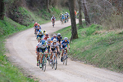 Lizzie Armitstead has had an easy ride with her teammate, Nikki Harris up the road - 2016 Strade Bianche - Elite Women, a 121km road race from Siena to Piazza del Campo on March 5, 2016 in Tuscany, Italy.