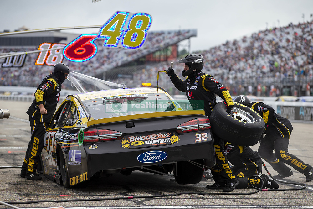 July 22, 2018 - Loudon, New Hampshire, United States of America - Matt DiBenedetto (32) makes a pit stop during the Foxwoods Resort Casino 301 at New Hampshire Motor Speedway in Loudon, New Hampshire. (Credit Image: © Stephen A. Arce/ASP via ZUMA Wire)