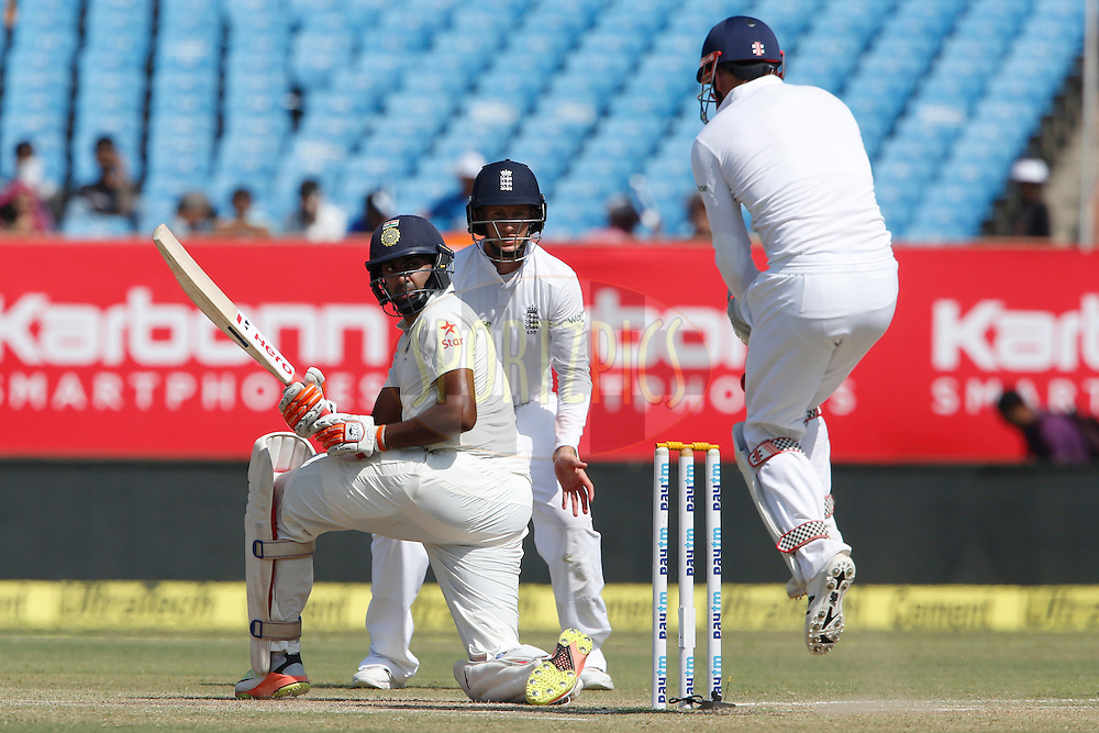 Ravichandran Ashwin of India reacts during day 4 of the first test match between India and England held at the Saurashtra Cricket Association Stadium , Rajkot on the 12th November 2016.<br /> <br /> Photo by: Deepak Malik/ BCCI/ SPORTZPICS