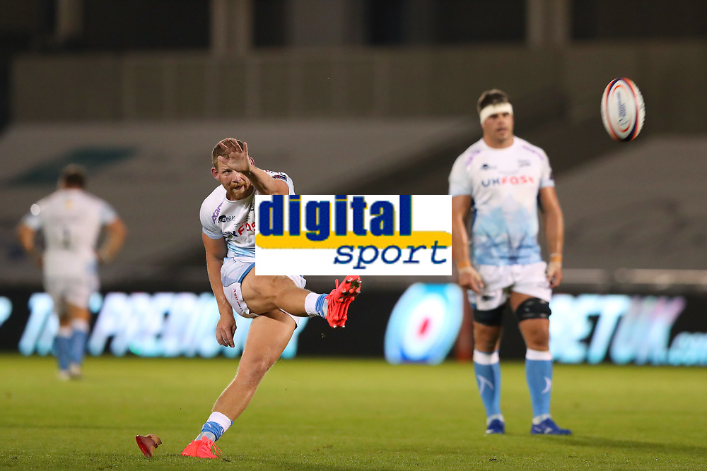Rugby Union - 2019 / 2020 Premiership Rugby Cup - Final - Sale Sharks vs Harlequins<br /> <br /> Rob Du Preez of Sale Sharks kicks a penalty, at the A J Bell Stadium.<br /> <br /> COLORSPORT/PAUL GREENWOOD