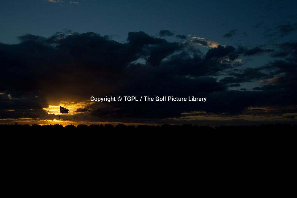 Gv sunset over Royal Liverpool Golf Club, Hoylake,Wirral,England, during summer 2013,venue for the 2014 Open Championship.
