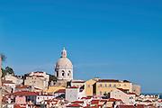 Lisbon, November 2012. View of Alfama district. Houses and National Mausoleum vault.