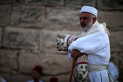 27.06.2015, Nablus, PSE, Samaritaner am Berg Garizim, im Bild Betende Samaritaner am Berg Garizim // Members of the Samaritan sect pray atop Mount Gerizim near the West Bank city of Nablus after sunrise on 28 June 2015, as they celebrate the Shavuot festival, marking the giving of the Torah at Mount Sinai seven weeks after the exodus of the Jewish people from Egypt. The Samaritan religion descended from the ancient Israelite tribes of Menashe and Efraim and the community numbers today less than 700 people, half of who live on Mount Grizim in the West Bank and the other half in Holon, next to Tel Aviv, Israel. Samaritans recite prayers in ancient Hebrew using a Torah scoll. Photo by Ahmad Talat, Palestine on 2015/06/27. EXPA Pictures © 2015, PhotoCredit: EXPA/ APAimages/ Ahmad Talat<br /> <br /> *****ATTENTION - for AUT, GER, SUI, ITA, POL, CRO, SRB only*****