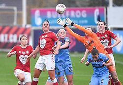 Laura Rafferty of Bristol City Women contends for the aerial ball with Mackenzie Arnold of West Ham United Women - Mandatory by-line: Ryan Hiscott/JMP - 13/12/2020 - FOOTBALL - Twerton Park - Bath, England - Bristol City Women v West Ham United Women - Barclays FA Women's Super League