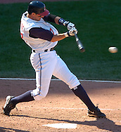 MORNING JOURNAL/DAVID RICHARD<br />Aaron Boone hits an RBI single scoring Victor Martinez from second base yesterday in the seventh inning against the White Sox.