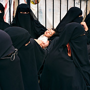 From the series WAR GAMES: protesters against the regime in central Sana'a. Female protesters on a central square in Sana'a, the capital of Yemen