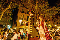 A procession marks the beginning of the Catalan Weekend celebrations in the Square de les Moreres in Barcelona. This square contains the memorial to those who perished in the 1713-1714 siege of Barcelona.<br /> <br /> (c) Andrew Wilson | Edinburgh Elite media