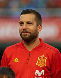 June 3, 2018 - Vila-Real, Castellon, Spain - Jordi Alba of Spain prior the International friendly football match between Spain and Suisse, at La Ceramica Stadium, Vila-real on June  3, 2018  (Credit Image: © Maria Jose Segovia/NurPhoto via ZUMA Press)
