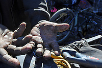Homeless now for two months straight, a Mexican agricultural worker in Salinas makes the wait for seasonal ag employment count by cobbling together bicycles and selling metal.