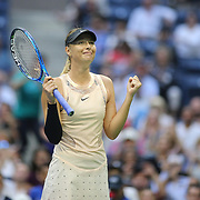 2017 U.S. Open Tennis Tournament - DAY THREE.  Maria Sharapova of Russia celebrates her victory against Timea Babosof Hungary during the Women's Singles round two match at the US Open Tennis Tournament at the USTA Billie Jean King National Tennis Center on August 30, 2017 in Flushing, Queens, New York City.  (Photo by Tim Clayton/Corbis via Getty Images)
