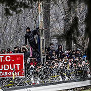 GREEK-TURKEY BORDER CROSSING, GREECE - FEBRUARY 29: The Greek military, border police and riot police hold their position at the Greek border against migrants hoping to enter from the Turkish side on Saturday, February 29, 2020. Turkey said it would no longer stop refugees from reaching Europe a day after the country suffered heavy losses during an attack in Syria. (Photo by Byron Smith/Getty Images)