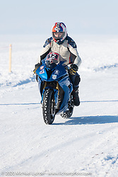 Aleksander Mishkines (record holder at 262 kmh) on his BMW S100RR ice racer at the Baikal Mile Ice Speed Festival. Maksimiha, Siberia, Russia. Friday, February 28, 2020. Photography ©2020 Michael Lichter.