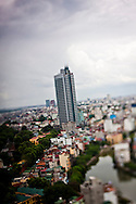 View of new residential tower block from the Summit Lounge of the Sofitel Plaza, Hanoi, Vietnam.
