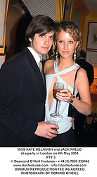 MISS KATE MELHUISH and JACK FREUD at a party in London on 4th May 2004.<br /> PTT 5