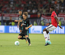 August 8, 2017 - Skopje, Macedonia - Paul Pogba of Manchester United and Luka Modric of Real Madrid during the UEFA Super Cup final between Real Madrid and Manchester United at the Philip II Arena on August 8, 2017 in Skopje, Macedonia. (Credit Image: © Ahmad Mora/NurPhoto via ZUMA Press)