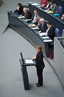 17 FEB 2016, BERLIN/GERMANY:<br /> Angela Merkel, CDU, Budneskanzlerin, waehrend ihrer Regierunsgerklaerung der zum Europaeischen Rat, Plenum, Deutscher Bundestag<br /> IMAGE: 20160217-03-023<br /> KEYWORDS: Debatte, Rede, speech