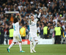 May 1, 2018 - Madrid, Spain - Marcelo (L) and Sergio Ramos of Real Madrid celebrate victory after the UEFA Champions League Semi Final Second Leg match between Real Madrid and Bayern Muenchen at the Bernabeu on May 1, 2018 in Madrid, Spain. (Credit Image: © Raddad Jebarah/NurPhoto via ZUMA Press)