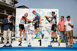 Second placed Jan Polanc of UAE Team Emirates, winner Matej Mohoric of Bahrain Victorious and third placed Luka Mezgec of Team Bikeexchange celebrate at medal ceremony during Slovenian National Road Cycling Championships 2021, on June 20, 2021 in Koper / Capodistria, Slovenia. Photo by Vid Ponikvar / Sportida