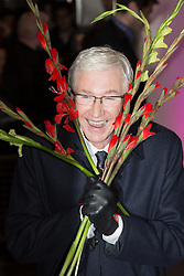 © Licensed to London News Pictures. 18/11/2013. London, UK. Image date 15/11/2013. Paul O'Grady arrives at the press night of 'Eat, Pray, Laugh!' - Barry Humphries Farewell Tour at the London Palladium on 15 November 2013. Paul O'Grady was rushed to hospital today, 15 November 2013 following an angina attack. Photo credit : Vickie Flores/LNP