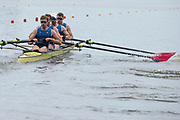 Poznan, POLAND, 21st June 2019, Friday, Morning Heats, USA M4- /1 (b) DETHLEFS Thomas, (2)HARRITY Conor, (3)RICHARDS Alexander and WALLIS Alexander,  FISA World Rowing Cup II, Malta Lake Course, © Peter SPURRIER/Intersport Images,<br /> <br /> 11:41:25