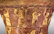 Hüseyindede vases, Old Hittite Polychrome Relief vessel, top frieze depicting a procession of musicians and dancers, , 16th century BC. . Çorum Archaeological Museum, Corum, Turkey .<br /> <br /> If you prefer to buy from our ALAMY STOCK LIBRARY page at https://www.alamy.com/portfolio/paul-williams-funkystock/hittite-art-antiquities.html  - Huseyindede into the LOWER SEARCH WITHIN GALLERY box. Refine search by adding background colour, place, museum etc<br /> <br /> Visit our HITTITE PHOTO COLLECTIONS for more photos to download or buy as wall art prints https://funkystock.photoshelter.com/gallery-collection/The-Hittites-Art-Artefacts-Antiquities-Historic-Sites-Pictures-Images-of/C0000NUBSMhSc3Oo