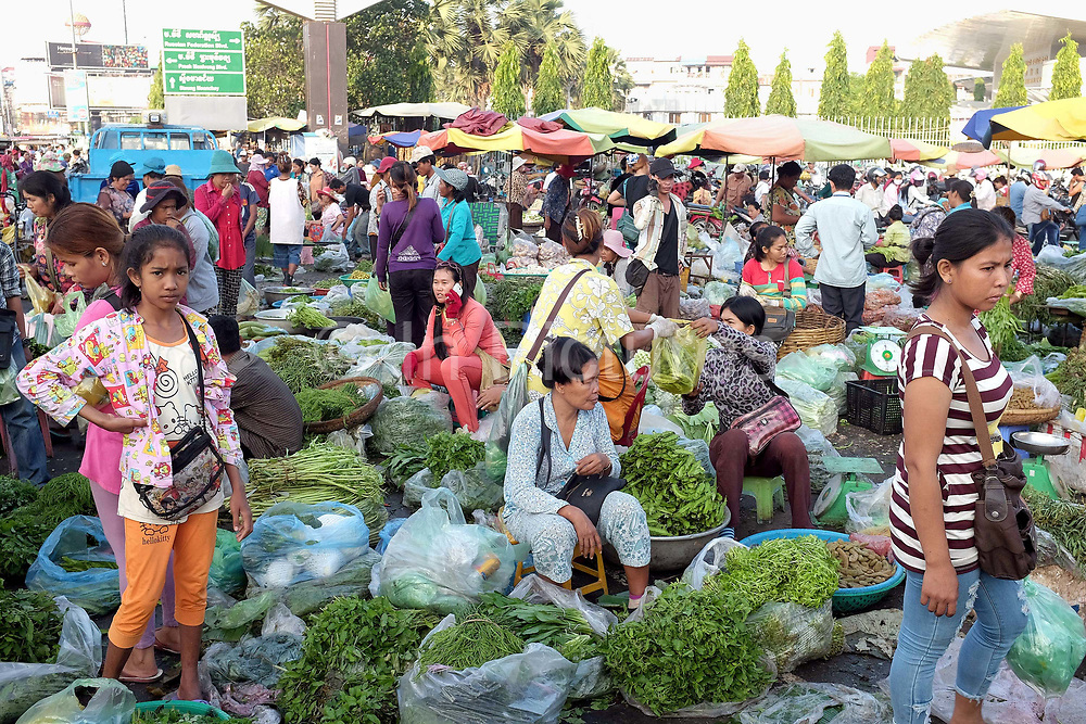 Buyers and sellers at the immense Daeum Kor morning market in Phnom Penh, the capital city of Cambodia. A large variety of local products are available for sale in fresh markets all over Cambodia, all being sold on small individual stalls.
