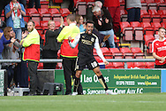 Nicky Ajose of Swindon Town celebrates after scoring his teams 3rd goal. Skybet football league 1 match, Crewe Alexandra v Swindon Town at The Alexandra Stadium in Crewe, Cheshire on Saturday 5th September 2015.<br /> pic by Chris Stading, Andrew Orchard sports photography.