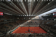 Ray of sunshine, raindrops illustration with wide view of roof top almost closed of Philippe Chatrier stadium during the Roland Garros 2020, Grand Slam tennis tournament, on October 4, 2020 at Roland Garros stadium in Paris, France - Photo Stephane Allaman / ProSportsImages / DPPI
