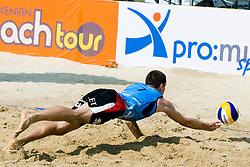 Gregor Perhaj (Asics MojcaSport outlet) at semi final of Beachmaster 2010 tournament for Slovenian BeachTour on July 17, 2010, in Ptuj, Slovenia. (Photo by Matic Klansek Velej / Sportida)