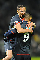 FOOTBALL - FRENCH CUP 2010/2011 - 1/2 FINAL - SCO ANGERS v PARIS SAINT GERMAIN - 19/04/2011 - PHOTO PASCAL ALLEE / DPPI - JOY GUILLAUME HOARAU (PSG) CONGRATULATED BY NENE