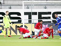 Fotball , 15. oktober 2013 , U21 ,  Norge - Israel<br /> Norway - Israel<br /> Oppgitte norske spillere ved Sondre Rossbach (12) , Etzaz Hussain (20) , Kevin Dure Johannesen (15) og Gustav Valsvik (4) etter at Israel har tatt ledelsen