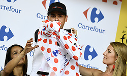 July 14, 2017 - Foix, FRANCE - French Warren Barguil of Team Sunweb celebrates on the podium in the red polka-dot jersey for best climber after winning the 13th stage of the 104th edition of the Tour de France cycling race, 101km from Saint-Girons to Foix, France, Friday 14 July 2017. This year's Tour de France takes place from July first to July 23rd. BELGA PHOTO YORICK JANSENS (Credit Image: © Yorick Jansens/Belga via ZUMA Press)