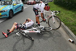 July 12, 2017 - Pau, FRANCE - Austrian Michael Gogl of Trek-Segafredo and Spanish Alberto Contador of Trek-Segafredo pictured after a crash during the 11th stage of the 104th edition of the Tour de France cycling race, 203,5km from Eymet to Pau, France, Wednesday 12 July 2017. This year's Tour de France takes place from July first to July 23rd. BELGA PHOTO POOL FRANCK FAUGERE (Credit Image: © Pool Franck Faugere/Belga via ZUMA Press)
