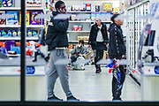 April 6, 2020, London, England, United Kingdom: Customers are seen shopping ina Tesco store in Central London on Monday, April 6, 2020 - as British Prime Minister Boris Johnson was moved to intensive care after his coronavirus symptoms worsened in London. Johnson was admitted to St Thomas' hospital in central London on Sunday after his coronavirus symptoms persisted for 10 days. Having been in the hospital for tests and observation, his doctors advised that he be admitted to intensive care on Monday evening. (Credit Image: © Vedat Xhymshiti/ZUMA Wire)