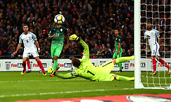 Jordan Henderson of England has a shot saved by Jan Oblak of Slovenia - Mandatory by-line: Robbie Stephenson/JMP - 05/10/2017 - FOOTBALL - Wembley Stadium - London, United Kingdom - England v Slovenia - World Cup qualifier