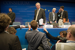 Jean-Claude Juncker, Luxembourg's prime minister, and president of the Eurogroup, speaks to the media after the meeting of European Union finance ministers in Brussels, Belgium, on Monday, May 17, 2010. (Photo © Jock Fistick)