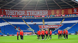 CARDIFF, WALES - Monday, October 9, 2017: Wales' players on the pitch before the 2018 FIFA World Cup Qualifying Group D match between Wales and Republic of Ireland at the Cardiff City Stadium. (Pic by Paul Greenwood/Propaganda)