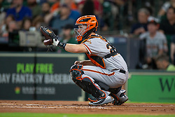 May 22, 2018 - Houston, TX, U.S. - HOUSTON, TX - MAY 22: San Francisco Giants right fielder Andrew McCutchen (22) at the plate in the first inning during an MLB baseball game between the Houston Astros and the San Francisco Giants on May 22, 2018 at Minute Maid Park in Houston, Texas. (Photo by Juan DeLeon/Icon Sportswire) (Credit Image: © Juan Deleon/Icon SMI via ZUMA Press)
