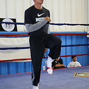 ORLANDO, FL - Felix Verdejo stretches in the ring during a media day workout at the Orlando Sports Martial Arts Academy on October 2, 2014 in Orlando, Florida. (Photo by Alex Menendez/Getty Images) *** Local Caption *** Felix Verdejo