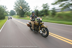 Mike Inglis riding his 1927 Harley-Davidson JD during Stage 6 of the Motorcycle Cannonball Cross-Country Endurance Run, which on this day ran from Cape Girardeau to Sedalia, MO., USA. Wednesday, September 10, 2014.  Photography ©2014 Michael Lichter.