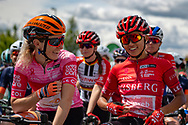 Jolien D'Hoore (BEL) riding for Boels Dolmans Cycling team (left) shares a joke with Coryn Rivera (USA) on the start line of Stage 2 of the OVO Energy Women's Tour 2019 at Cyclopark, Gravesend, United Kingdom on 11 June 2019.