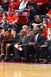 06 January 2016: Bryan Mullins, Emanuel Dildy and Bernie Seltzer during the Illinois State Redbirds v Loyola-Chicago Ramblers at Redbird Arena in Normal Illinois (Photo by Alan Look)